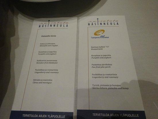 Restaurant Nasinneula: Menu