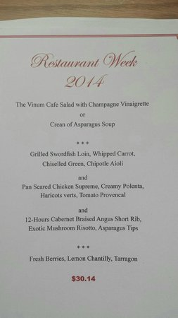 vinum cafe: Restaurant Week 2014 menu