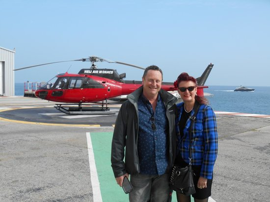 Columbus Monte-Carlo: y husband and I and the helicopter transfer back to Nice