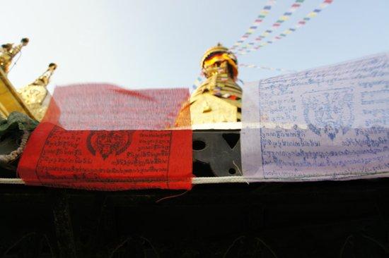 Swayambhunath-Tempelkomplex: Swayambhunath Stupa and prayer flags