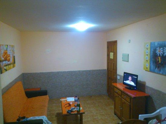Villa Florida: Living room. apt 268. No window. Dark and dingy.