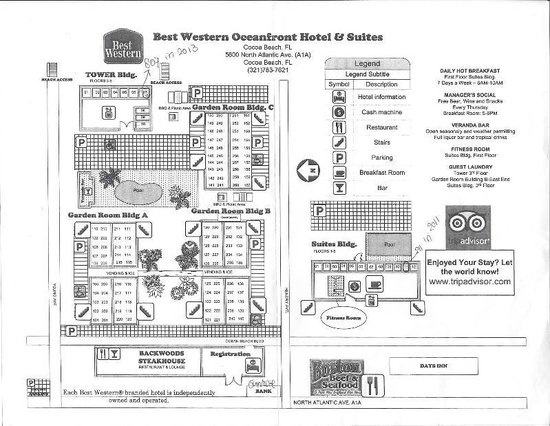 Best Western Ocean Beach Hotel & Suites : map of the BW Ocean Beach Cocoa Beach buildings with the room numbers