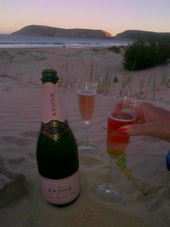 Bubbly on the beach in front of Sea Breeze