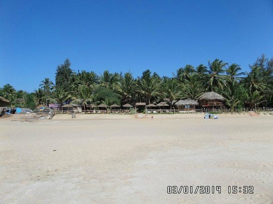 Agonda White Sand: Looking at the shacks from the beach!