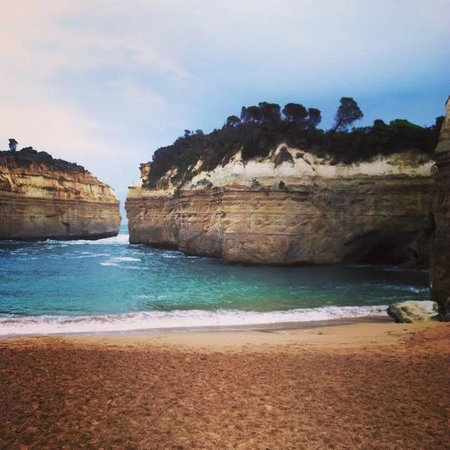 The Great Ocean Road: A small cape we stopped in on the tour.  Don't let the color fool you - the water was rough!