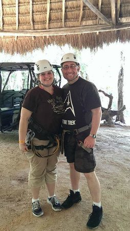 Selva Maya Eco Adventure: Getting ready to zip line!
