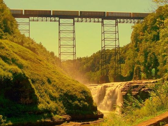 Letchworth State Park: high falls with train crossing overhead