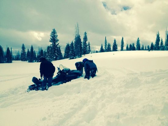High Mountain Snowmobile Tours: Teamwork in getting unstuck. lol