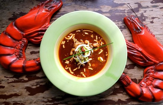 The Drunken Sailor: Tortilla Soup with Shrimp, (one of our tasty specials)