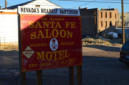 Santa Fe Motel and Saloon: When you see this sign, turn to the northeast.