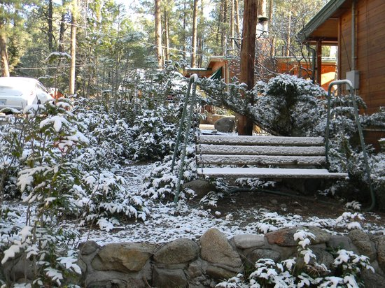 Story Book Cabins: snowy morning