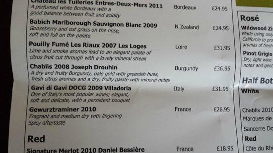 Ardencote : Wine List Close-up