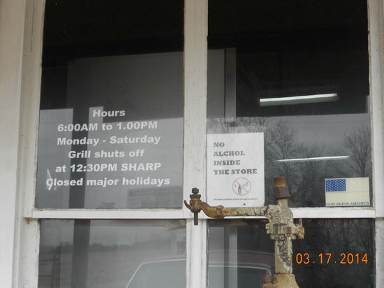 Moonshine Store: store sign - grill closes at 12:30pm!