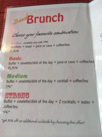 Bar Celoneta Sangria Bar: Brunch menu