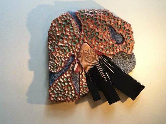 Pam Foss Fine Art : Black Crystal/Mixed media wall sculpture
