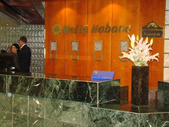 Melia Habana: recepcion