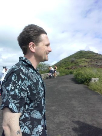 Makapuu Lighthouse Trail: The wind in his hair!