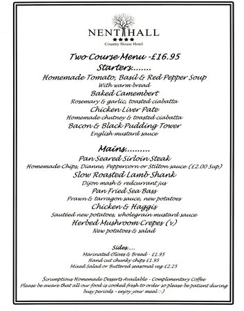 Nent Hall Country House Hotel: Restaurant dinner menu  Sat 15/03/14