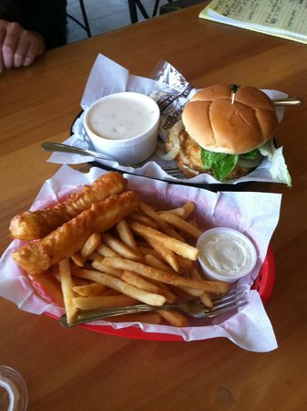 Crab Pot: Cod Fish & Chips, Oyster Burger, Cup of Clam Chowder
