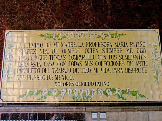 Museo Dolores Olmedo Patino: The Ethos of Museo Dolores Olmedo Patiño spelled out in this plaque at the entrance