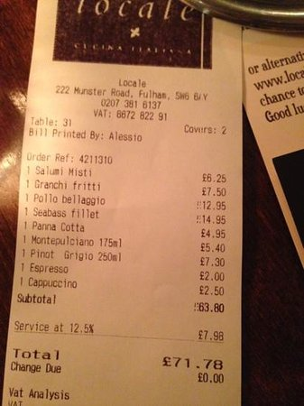 Locale - Fulham: the bill !!