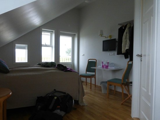 Hotel Laekur: One of the upstairs rooms. There is a deck and stairs down outside the door.