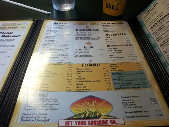 Sunrise Grill Boone menu