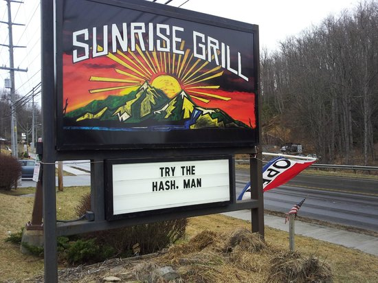 Sunrise Grill Boone road sign