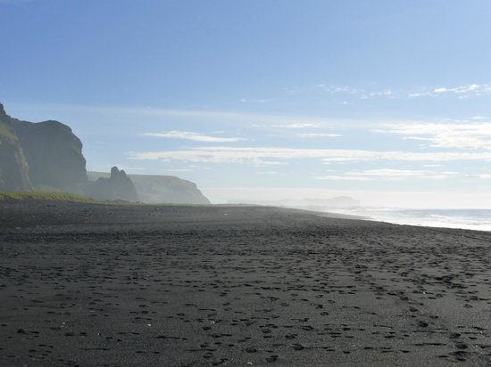 Black sand beach - view to east