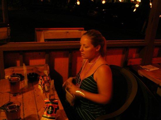 Drunken Clam: Us enjoying drinks outside on Cinco de Mayo