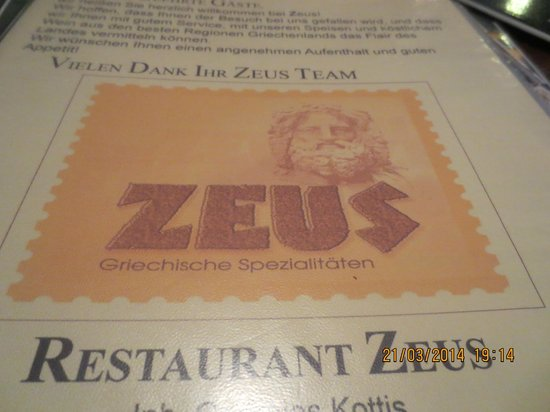 Restaurant Zeus: Menu cover