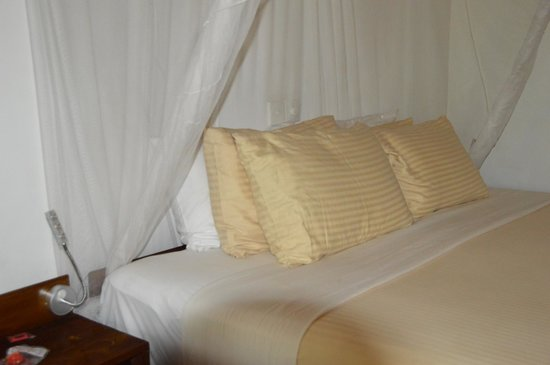 Dalmanuta Gardens - Ayurvedic Resort & Restaurant: Bed plastic protection sheets under