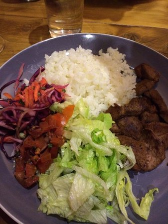 Dinosaur Cafe: Lamb Shish and salad. This is my favourite dish. It's delicious.