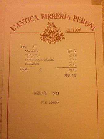 L'Antica Birreria Peroni: счет