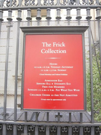 The Frick Collection : Ticket fees