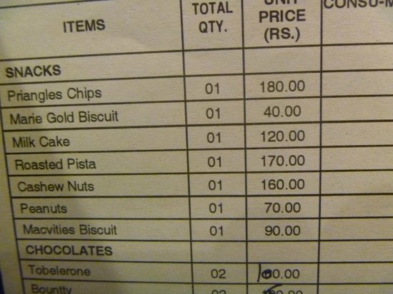Hotel Godwin Deluxe: Room snack prices