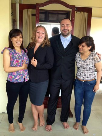 Kimmy Custom Tailor : Laughing with Thuy and Madonna during a fitting.