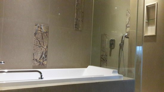 Green World Hotel Jian Pei Suites: The bath tub and showe