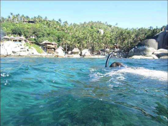 Charm Churee Villa : View while snorkeling to Jansom Bay and resort