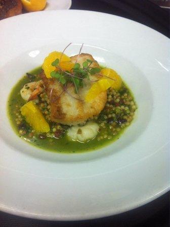 Garibaldi's of Columbia: Braised Mahi, shrimp, tomato,  olives, capers, basil