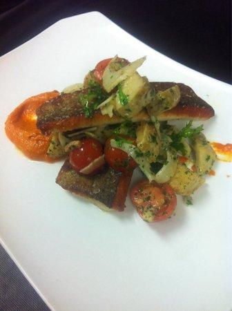 Garibaldi's of Columbia: NC trout, tomato and artichoke panzanella, bacon, tomato vin.