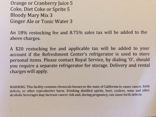 Fairmont San Jose : $20 charge if use minibar for personal items, or can rent a fridge