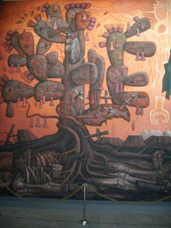"""Casa del Arte - Pinacoteca : Concepción, Chile, Casa del Arte-Pinacoteca. Detalle """"Presencia de América Latina""""."""