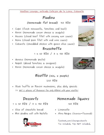 VooDoo Lounge Cabarete: Food menu