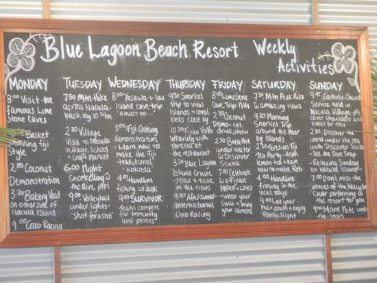Blue Lagoon Beach Resort : Weekly activities