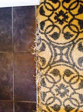 Hilton Savannah Desoto: Wet frayed carpet in rooms! Yuk