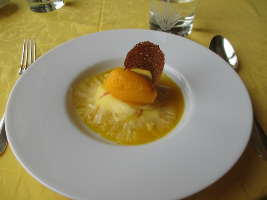Dessert: Thin pineapple over cream with bitter orange sorbet - Picture ...