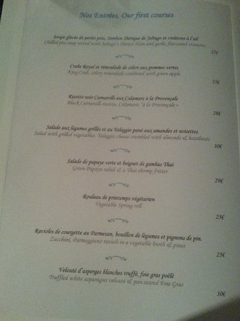La Case de l'Isle: menu