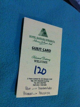 Bandara Surabaya Hotel: room card