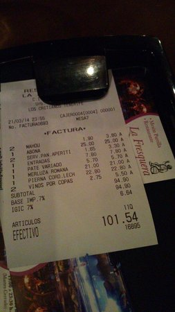 Restaurante La Fresquera: The bill for two, with beers and €25 bottle of wine